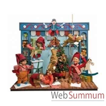 Décor animé - l'entrepôt de jouets du père noël Automate Décoration Noël 155-K