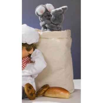Automate - deux souris dansant dans un sac de farine Automate Décoration Noël 181-M