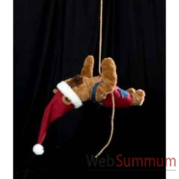 Automate - teddy bear suspendu à deux mains Automate Décoration Noël 203-D