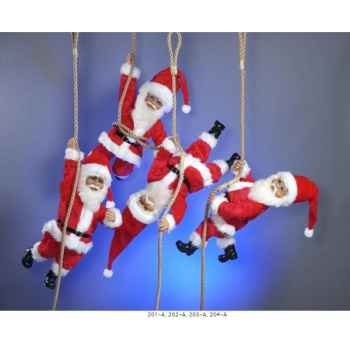 Automate - père-noël suspendu à la corde d'une cloche Automate Décoration Noël 204-A