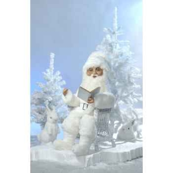 Automate - père noël en costume blanc parlant Automate Décoration Noël 307-HS
