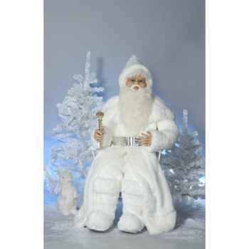 Automate - père noël roi des neiges en costume blanc parlant Automate Décoration Noël 408-CS