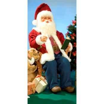 Automate - père noël parlant, lisant un livre dans une chaise Automate Décoration Noël 409-AS