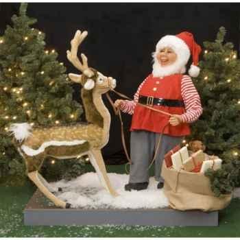 Automate - lutin du père-noël et cerf Automate Décoration Noël 440-1