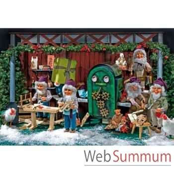 Décor - banc du charpentier Automate Décoration Noël 570-BB