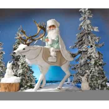Automate - renne blanc avec père-noël chantant Automate Décoration Noël 814-1