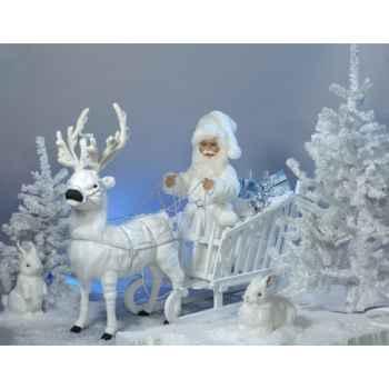 Automate - renne blanc et traineau du père-noël Automate Décoration Noël 824-1