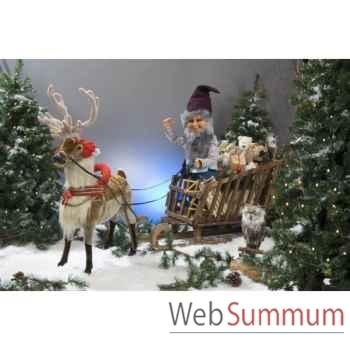 Automate - renne et lutin du père-noël en traineau Automate Décoration Noël 824-2