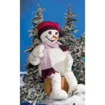 Automate - fillette en costume blanc, assise Automate Décoration Noël 845-C