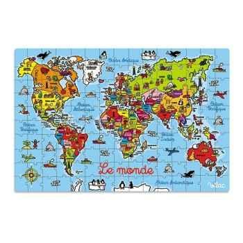 Puzzle 150 pcs carte du monde en valise vilac 2604