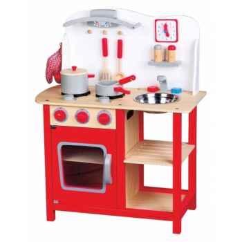 Cuisine en bois blanche et rouge 1055