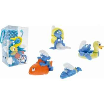 Figurine set n°1 = schtroumpfs = 4 pcs schtroumpfs bouée c poisson et plongeur schtroumpfette Plastoy 80530