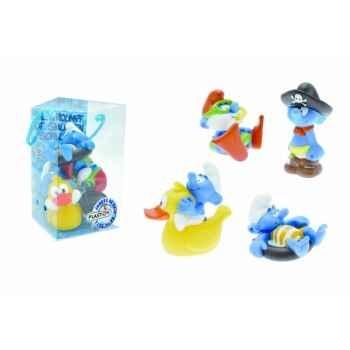 Figurine set n°2 = schtroumpfs = 4 pcs grand schtroumpf schtroumpfs canard bouée n pirate  Plastoy 80531