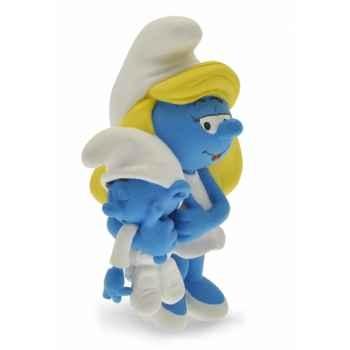 Figurine la schtroumpfette avec son bébé  Plastoy 00167