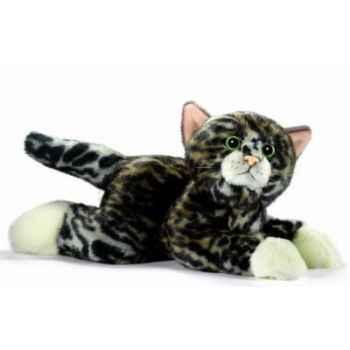 Anima - Peluche chatons tigré couché 30 cm aux pattes blanches -7047