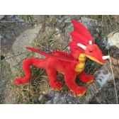 peluche dragon rouge 42cm long anima 5937
