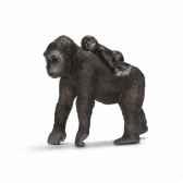 figurine femelle gorille avec son bebe schleich 14662