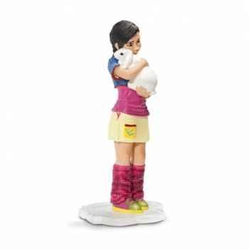 Figurine jeune fille avec lapin nain schleich-13902