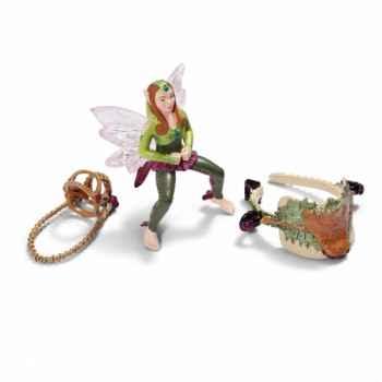 Figurine set équitation, elfe des bois schleich-42098