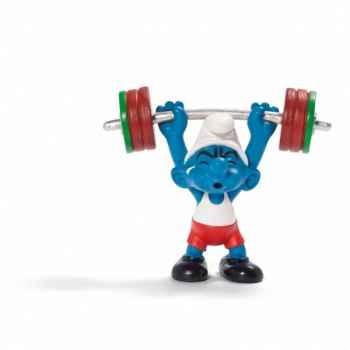 Figurine Schtroumpf sportif haltérophile schleich-20737