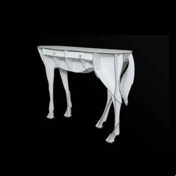 Console pure sang elisée mobilier ibride blanc brillant