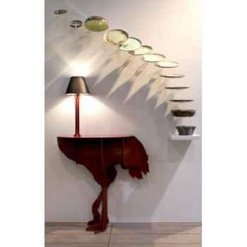 Console autruche illuminée diva lucia mobilier ibride rouge brillant