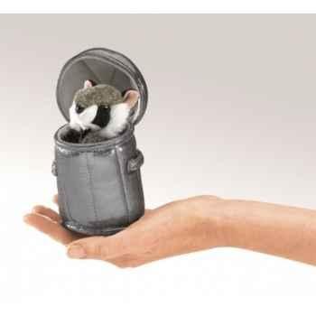 Marionnette à doigt mini peluche raton laveur dans poubelle folkmanis 2730