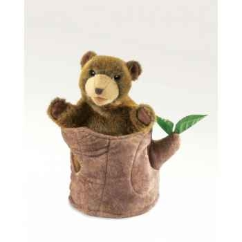 Marionnette peluche ours dans tronc d\'arbre folkmanis 2904