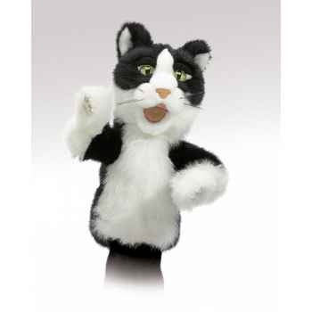 Marionnette peluche chat noir blanc tom folkmanis 2916
