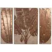 decoration murale banana leaf walplaque triptych granite combines et bronze bs4117gry nb