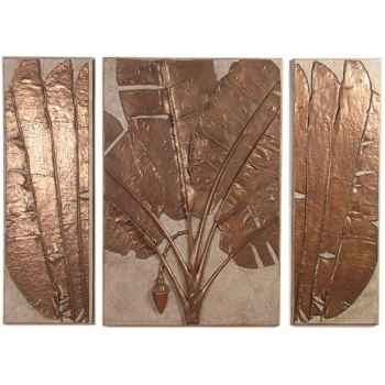 Décoration murale Banana Leaf Wall Plaque Triptych, granite combinés et bronze -bs4117gry -nb