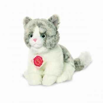 Peluche chat gris 20 cm hermann 90685 8