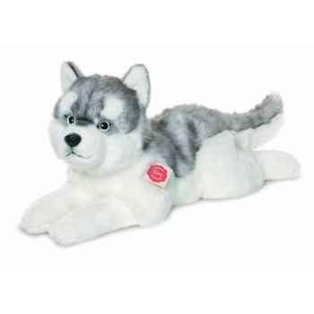 Peluche chien husky couché 50 cm hermann 92751 8