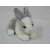 anima peluche lapin couche blanc gris 24 cm 3889