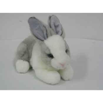 Anima - Peluche lapin couché blanc gris  24 cm -3889