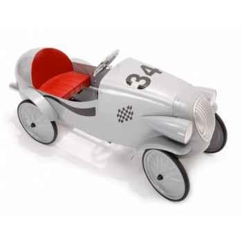 Baghera - Voiture à pédales en métal Le Mans- grise - 55 x 115 cm - 3 à 5 ans - Baghera-01924G