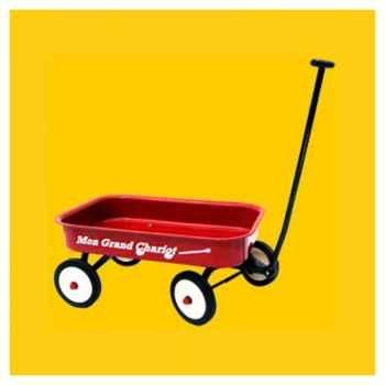 Baghera - Grand chariot rouge - en métal - 60 x 40 cm - 1 an+ - Baghera-2020MW