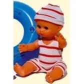 bebe petit calin 28cm blanc a la plage corps vinyle yeux dormeurs 612869