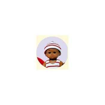 Bébé Petit Calin-28cm-Métis-A la Plage-corps vinyle-yeux dormeurs-652869
