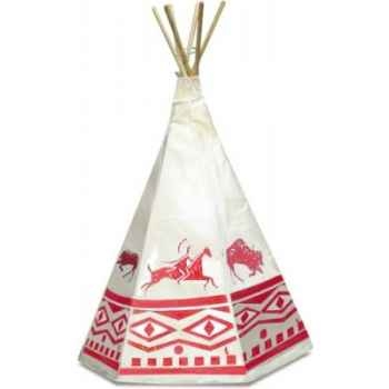 Tente d'indien-Tipie décors rouges toile Denim-Piquets en pin maritime- Hauteur 170 cm - Univers du Petitcollin-800204