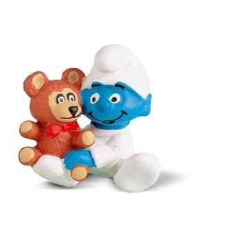 schleich-20205-Figurine schtroumpf bébé avec ourson