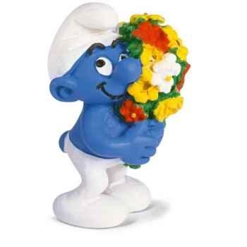 schleich-20469-Figurine schtroumpf au bouquet de fleur