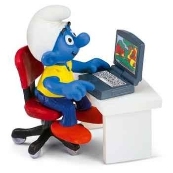 schleich-40263-Figurine schtroumpf avec ordinateur portable