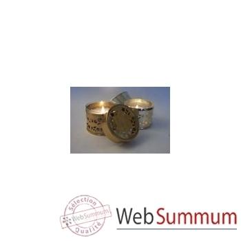 Tour de Table -Boîte métal photophore or et argent