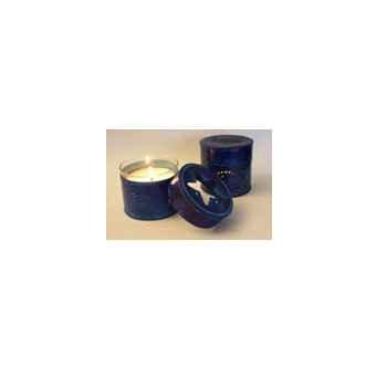 Tour de Table -Boîte métal photophore bleue