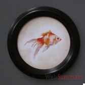 tableau rond de poison rouge objet de curiosite ta077