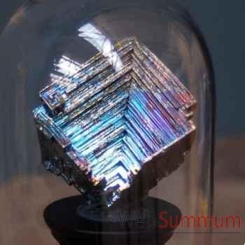 Bismuth cristallisé sous cloche Objet de Curiosité -MI029