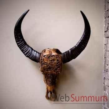 Crâne de buffle sculpté de sulawesi Objet de Curiosité -AN114