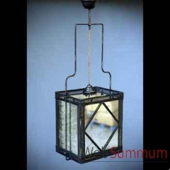 Lustre carré miroirs vieillis Objet de Curiosité -LU120