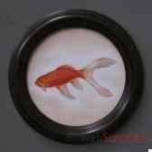 tableau rond de poison rouge objet de curiosite ta075